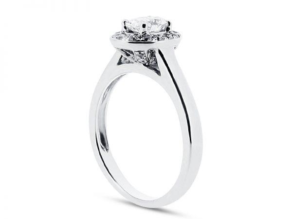 er 1972 oval pave halo side engagement ring