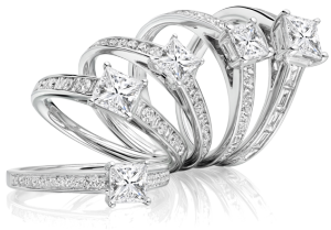 Set of Diamond Engagemetn Rings